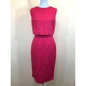 ASOS Retro Mod Pink Jacquard Midi Dress, Size 6